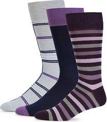3-pack striped crew socks