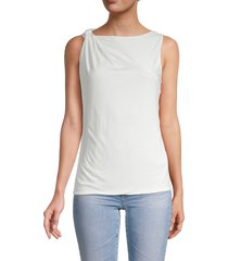 french connection women's mati draped jersey top - summer white - size xs