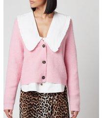 ganni women's soft wool knit cardigan - sweet lilac - l