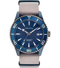 nautica men's pacific beach beige, blue fabric strap watch 44mm