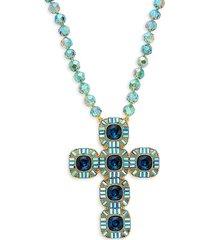 heidi daus women's goldtone & crystal cross necklace