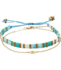 gold flash plated evil eye blue and white bracelet set
