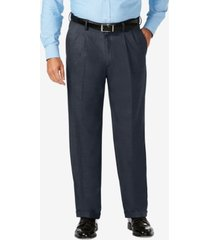 j.m. haggar big & tall classic fit stretch sharkskin pleated dress pants