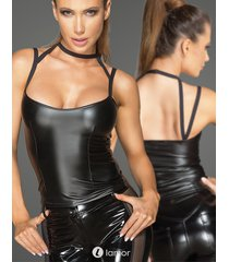 * noir handmade dames wetlook top met choker