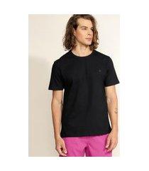 camiseta masculina básica com bordado manga curta gola careca preta