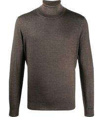 canali jersey knit high neck sweatshirt - brown