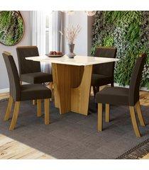 mesa de jantar 4 lugares denise nature/off white/marrom - bci móveis