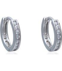 orecchini a cerchio in argento rodiato e zirconi per donna