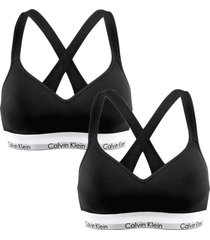 calvin klein 2-pack bralette lift top modern cotton - zwart