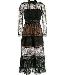 self-portrait sheer lace panelled shirt dress - black