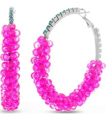 kensie women's rhinestone cluster style large hoop earrings