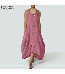 zanzea mujer verano sin mangas botones abajo playa suelta kaftan camisa vestido plus -rosado