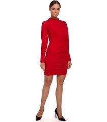 korte jurk moe m546 mini jurk met opstaande kraag - rood