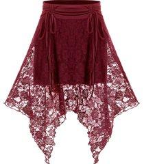 plus size lace hanky hem cinched tie skirt