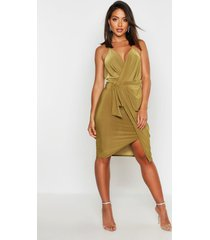 wrap over exposed side detail slinky midi dress, olive
