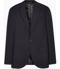 mens navy slim fit pindot single breasted blazer with notch lapels
