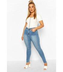 plus skinny jeans met gerafelde zoom, middenblauw