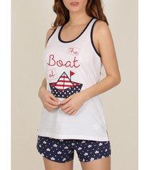 pyjama's / nachthemden admas pyjama shorts tank top paper boot wit