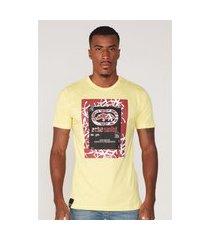 camiseta ecko estampada amarela