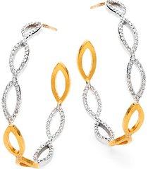 marquise willow 24k yellow gold, 14k white gold & diamond hoop earrings