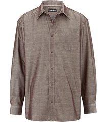 overhemd men plus donkerbruin::wit