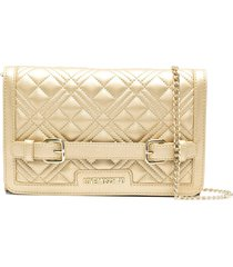 love moschino belt-strap quilted cross-body bag - gold