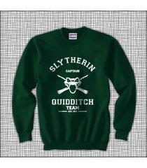 capain old slytherin quidditch team white ink unisex sweatshirt deep forest