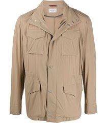 brunello cucinelli multi-pocket high neck jacket - neutrals