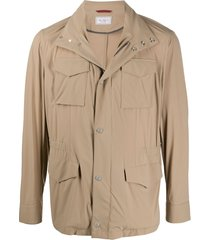brunello cucinelli multi-pocket high neck jacket - neutrals