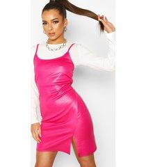 2-in-1 t-shirt met lange mouwen & mock croc slip jurk, roze