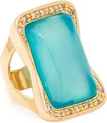anel kumbayá joias retangular bonamita turquesa azul