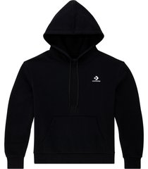 converse sudadera con capucha embroidered star chevron pullover black