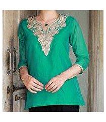 cotton and silk blend tunic, 'sea princess' (india)