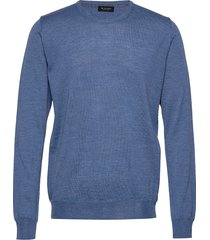 cool wool - iq stickad tröja m. rund krage blå sand