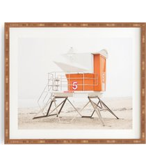 deny designs orange beach tower framed wall art, size one size - orange