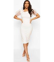 bodycon midi dress with organza sleeves, ivory
