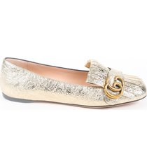 gucci marmont gg kiltie gold metallic leather fringe loafers gold/logo sz: 5.5