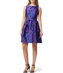 women's tahari jacquard fit & flare dress, size 10 - purple
