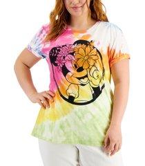 mighty fine trendy plus size minnie tie-dye graphic-print t-shirt