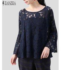 zanzea verano de las mujeres suéter de la blusa tee camiseta del partido del club de playa floral sheer la tapa del cordón -azul marino