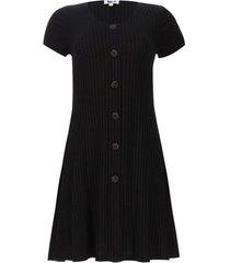 vestido acanalado con botones color negro, talla 10
