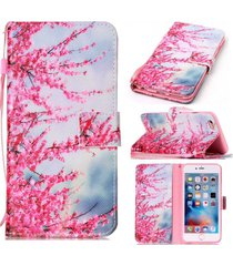 iphone 6plus case,6s plus wallet case,xyx [plum flower][double sided design][sta