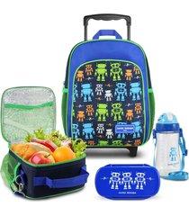 conjunto mochila com rodinhas p, lancheira térmica, pote e squeeze robo jacki design sapeka azul marinho