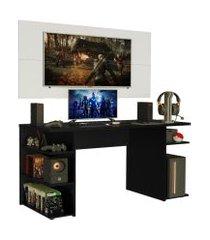 mesa gamer madesa 9409 e painel para tv até 50 polegadas - preto/branco preto