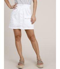 saia de sarja feminina curta clochard com bolsos branca