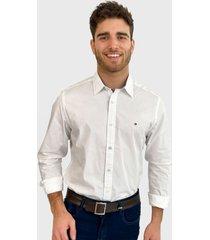 camisa tommy hilfiger lic m commerce cf stretch ls blanco - calce regular