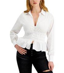 guess jane shirred blouse