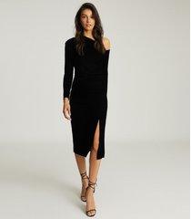 reiss bella - velvet midi dress in black, womens, size 14