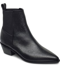 willow black grained leather shoes boots ankle boots ankle boot - heel svart flattered