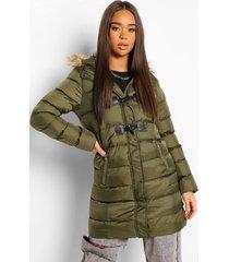 lange gewatteerde jas met faux fur zoom en lusje, khaki